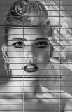 Fashion beautiful woman inside jail cell Royalty Free Stock Photo