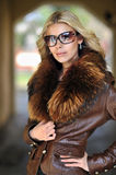 Fashion beautiful woman portrait with long hair wearing sunglass Royalty Free Stock Photography