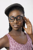Fashion beautiful woman portrait wearing glasses. African american fashion beautiful woman portrait wearing glasses Stock Image