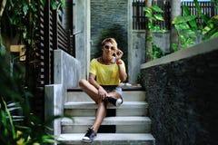 Fashion beautiful woman portrait wearing sunglasses Stock Photography