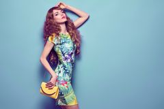 Fashion Beautiful woman in spring summer outfit stock photo