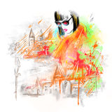 Fashion beautiful woman in street. autumn abstract. Illustration water color Stock Photos