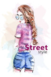 Fashion beautiful woman in sunglasses. Sketch. stock illustration