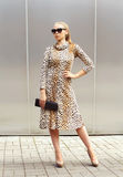 Fashion beautiful woman wearing a leopard dress and sunglasses Royalty Free Stock Photos