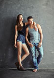 Fashion beautiful young couple Stock Photos