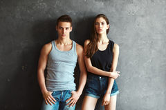 Fashion beautiful young couple Stock Image