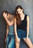 Fashion beautiful young couple in quarre Royalty Free Stock Image