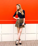 Fashion beautiful young woman in leopard skirt with handbag Stock Photos