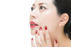 Fashion beauty asian red lipstick girl with nail polish finger Stock Photos