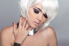 Fashion Beauty Blond Girl. Woman Portrait with White Short Hair. Royalty Free Stock Photography