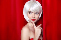 Fashion Beauty Blond Portrait with White Short Hair. Make-up. Be. Autiful Girl Face Close-up. Hairstyle. Fringe. Vogue Style Woman isolated on curtain or drapes stock images