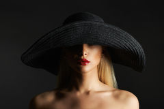 Fashion beauty blonde girl in hat Stock Images
