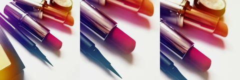 Fashion beauty collage of three the same photo of makeup tools. Like a lipstick, powder and eye-liner royalty free stock image