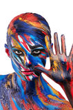 Fashion beauty color body art. Beautiful vivid rich color saturation Royalty Free Stock Image