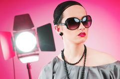 Fashion beauty concept with girl Stock Images