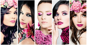 Fashion Beauty Faces. Set of Women. Purple Colors Makeup Stock Image