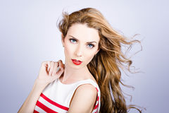 Fashion beauty girl. Beautiful woman long red hair Royalty Free Stock Photography