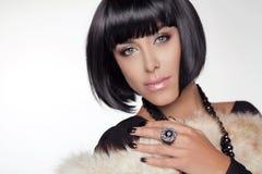 Fashion Beauty Girl. Brunette Woman Portrait.  Stock Images