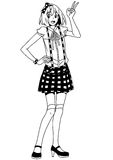 Fashion beauty girl. Illustration,black and white,art,outline Royalty Free Stock Image