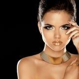 Fashion Beauty Girl Isolated on Black Background.   Stock Photos