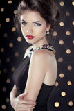 Fashion Beauty Glam Brunette Girl Model over bokeh lights backgr Royalty Free Stock Photo