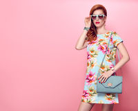 Fashion Beauty. Glamour Stylish Redhead Model Stock Photography