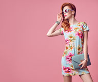 Fashion Beauty. Glamour Stylish Redhead Model Royalty Free Stock Photos