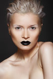 Fashion Beauty. Hairstyle, Make-up & Black Lips Stock Photography