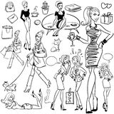 Fashion and Beauty hand drawn collection Stock Image