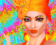 Fashion and beauty image of a woman in a colorful outfit with matching accessories vector illustration