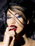 Fashion Beauty. Make-up. Beautiful Woman With Colorful Nail royalty free stock photo