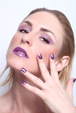 Fashion Beauty Make Up With Matching Lips and Nails Royalty Free Stock Photo