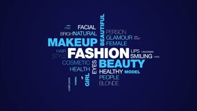 Fashion beauty makeup beautiful attractive face pretty woman skin girl portrait animated word cloud background in uhd 4k stock video footage