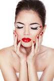 Fashion Beauty. Manicure and Make-up. Nail art. Be Royalty Free Stock Photo