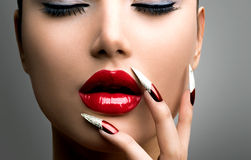 Fashion Beauty Model Girl. Manicure and Make-up. Nail art Royalty Free Stock Photography