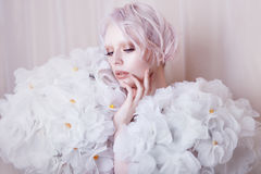Fashion Beauty Model Girl in white Roses.  Bride. Perfect Creative Make up and Hairstyle. Royalty Free Stock Images