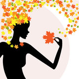 Fashion beauty nature. Beautiful silhouette of the girl with the hairstyle from the leaves vector illustration