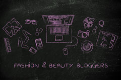 Fashion & beauty objects next to laptop, fashion & beauty blogge Stock Photo