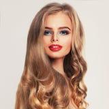 Fashion Beauty Portrait of Beautiful Woman Model. Beautiful Face. Hairstyle, Makeup, Perfect Skin Stock Photos