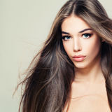 Fashion Beauty Portrait of Cute Woman with Long Brown Hair Stock Images