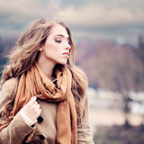 Fashion Beauty Portrait of Magnificent Woman Outdoors Stock Photo