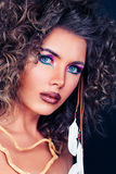 Fashion Beauty Portrait of Pretty Woman. Hairstyle, Makeup Stock Photography