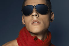 Fashion beauty portrait of teenager with sunglasses and scarf Royalty Free Stock Photos
