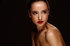 Fashion Beauty Portrait. Woman With Beautiful Makeup, Red Lips. Fashion Beauty Woman Portrait. Beautiful Girl Face With Perfect Smooth Soft Skin And Professional Stock Photography