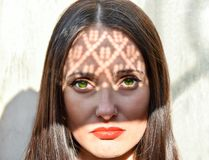 Fashion beauty portrait of a woman with green eyes Stock Photography