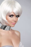 Fashion Beauty Portrait Woman. White Short Hair. Beautiful Girl' Royalty Free Stock Image