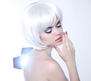Fashion Beauty Portrait of woman with White Short Hair. Makeup a Royalty Free Stock Image