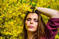 Fashion beauty. sexy woman in spring blossom. natural beauty makeup. hair fashion. summer blooming trees and yellow. Flowers. pretty woman skincare. girl like stock photos