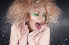 Fashion beauty woman with colorful makeup Royalty Free Stock Image