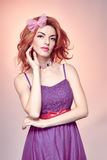 Fashion beauty woman in dress dreaming. Vintage Royalty Free Stock Photo